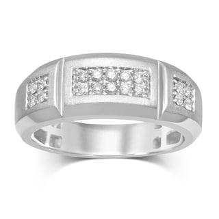 Unending Love 10k White Gold 1/3-carat TW Round Diamond (IJ I2-I3) Men's Band