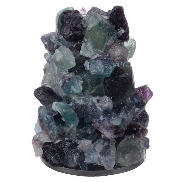 Green/Purple/Off-white Polyresin 5-inch x 3.5-inch Diameter Candleholder