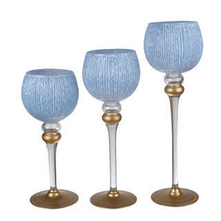 Ballico Blue/White Glass Candleholders (Pack of 3)