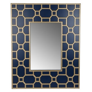 Stowe Blue/Gold Horizontal 36-inch x 2.5-inch x 42-inch Wall Mirror