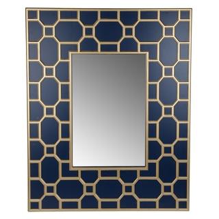Stowe Blue/Gold Horizontal 36-inch x 2.5-inch x 42-inch Wall Mirror