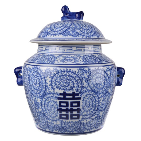 Blue and White Ceramic Lidded Accent Jar