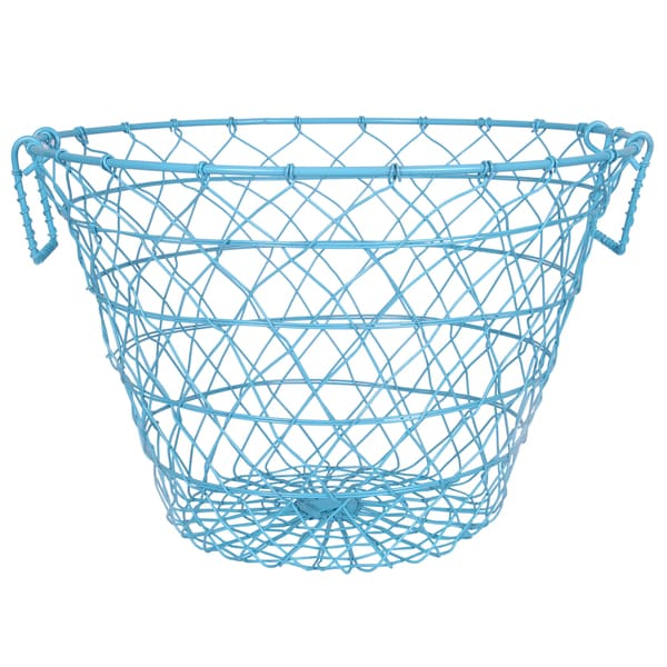 Leonora Light Blue 15.5-inch x 11-inch Wire Basket