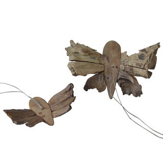 Brown Teak 10-inch x 6-inch x 2-inch Butterfly Figurine