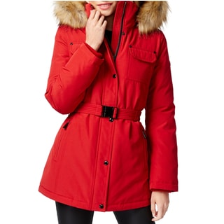 Michael Kors Women's Red Polyester/Faux Fur Belted Parka