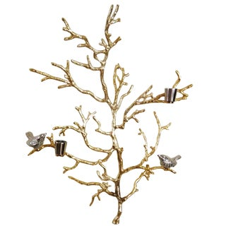 Grey and Gold Aluminum Branch Decor on Stand