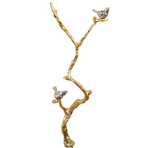 Goldtone and Silvertone Aluminum Bird Branch 10-inch x 8-inch x 23-inch Figurine Decor