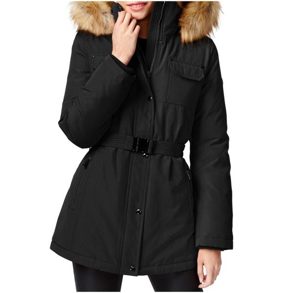 Shop Michael Kors Women's Black Faux Fur Belted Parka