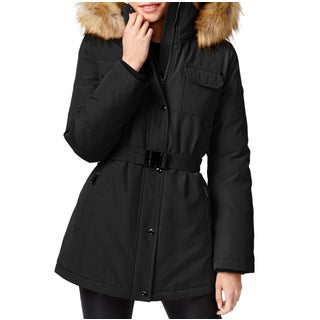 Michael Kors Women's Black Polyester/Faux Fur Belted Parka