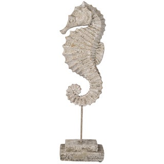 Off-white Resin/Metal/Cement 8 inches x 35. inches x 22.5 inches Seahorse Figurine