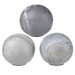 Grey Ceramic 4-inch Decorative Balls (Pack of 3)