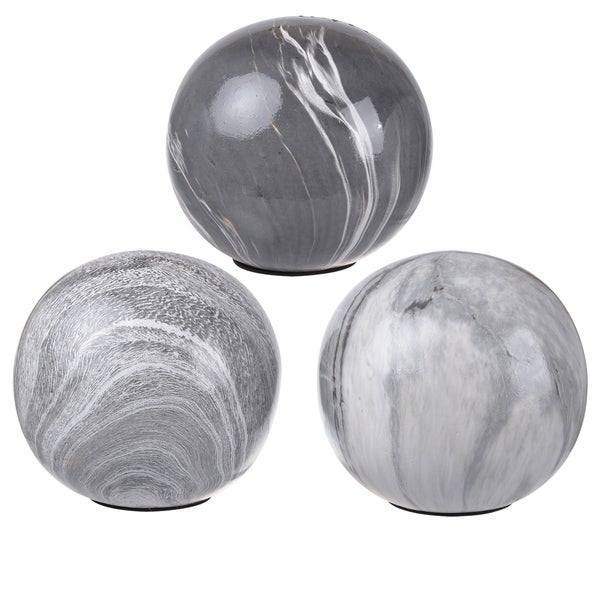 Shop WhiteGrey Ceramic 40inch Decorative Orbs Pack Of 40 Free Interesting Black And White Decorative Balls