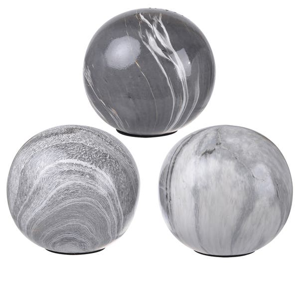 Shop White Grey Ceramic 4 Inch Decorative Orbs Pack Of 3