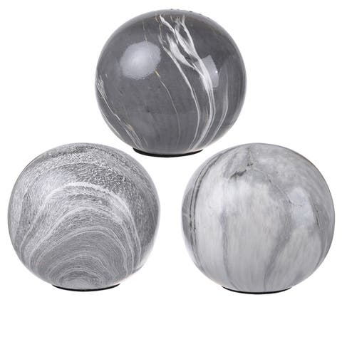 White/Grey Ceramic 4-inch Decorative Orbs (Pack of 3)