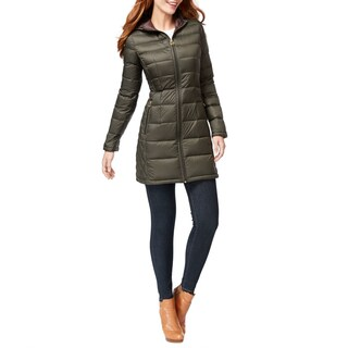 Michael Kors Dark Olive Long Packable Puffer Coat