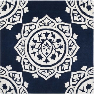 Safavieh Handmade Bella Navy / Ivory Wool Rug (5' Square)
