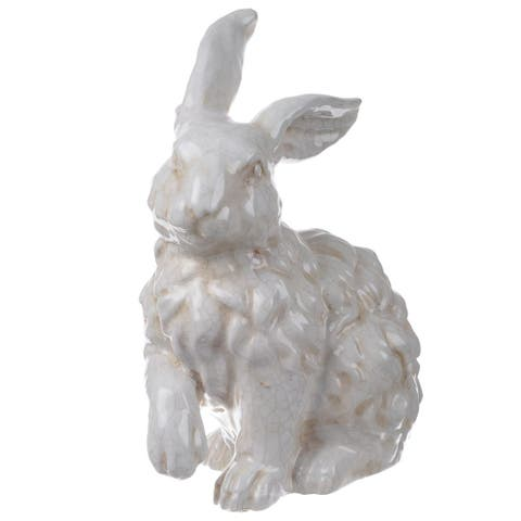 White Ceramic 9.5-inch x 6.5-inch x 13-inch Rabbit