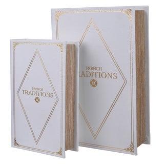 White MDF 2-piece Book Box Set