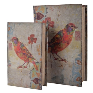 Wood and Fabric Red Bird Book Box (Set of 2)