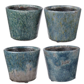 Blue-Grey Distressed Clay 5.5-inch x 5-inch Planters (Set of 4)