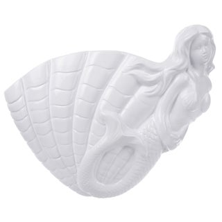 White Ceramic 14.5-inch x 12-inch x 4-inch Shell Planter