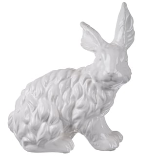 White Ceramic 9 x 5 x 10-inch Rabbit Figurine