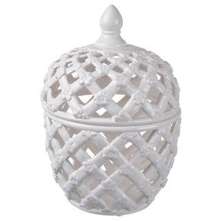 White Ceramic 11-inch High x 8-inch Diameter Lidded Jar