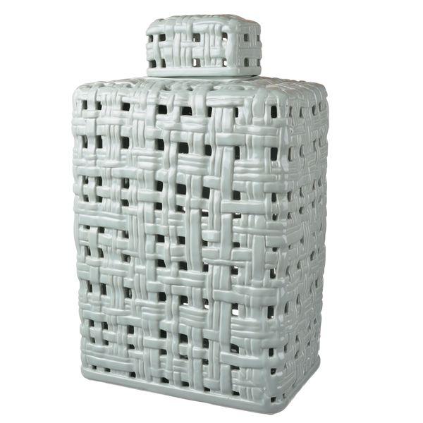 Ceramic 10.5-inch x 7-inch x 16.5-inch Lidded Jar