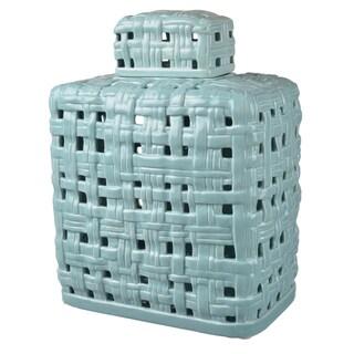 Blue Ceramic 10-inch x 6.5-inch x 13-inch Lidded Accent Jar