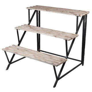 Brown Wood and Iron 36 x 31.5 x 32 Decorative Shelf