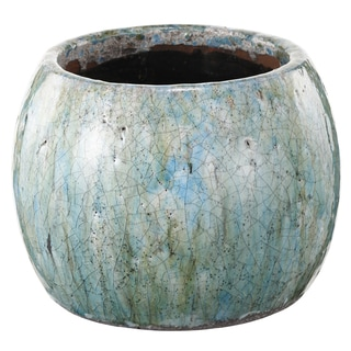 Blue Distressed Clay 7-inch x 5.5-inch Planter