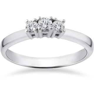 14k White Gold 1/4ct TDW White Gold Three Stone Engagement Anniversary Ring