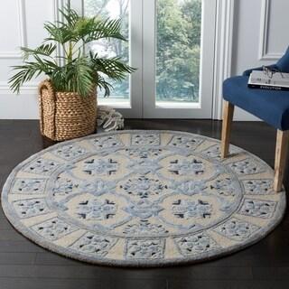 Safavieh Handmade Bella Ivory / Blue Wool Rug (5' Round)