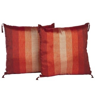 Handmade Set of Two Sunset Stripe Throw Pillows (Morocco)