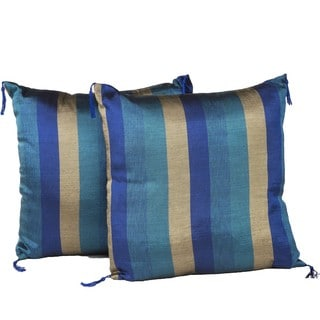 Handmade Set of Two Indigo and Gold Throw Pillows (Morocco)