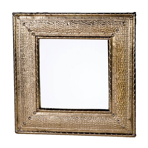 Handmade Hammered Metal Square Mirror (Morocco)