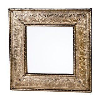Handmade Hammered Metal Square Mirror (Morocco)