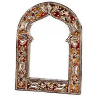Handmade Keyhole Arch Leather Mirror (Morocco) - Red
