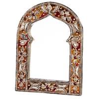 Handmade Keyhole Arch Leather Mirror (Morocco)
