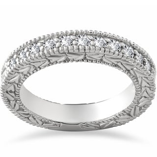 14k White Gold 1/4 ct Eco Friendly Lab Grown Diamond Wedding Stackable Ring (F-G,SI1-SI2)