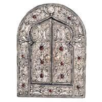 Handmade Keyhole Arch Moon Mirror (Morocco) - Silver