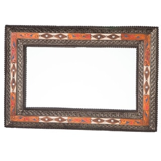 Handmade Embellished Henna and Natural Bone Mirror (Morocco)