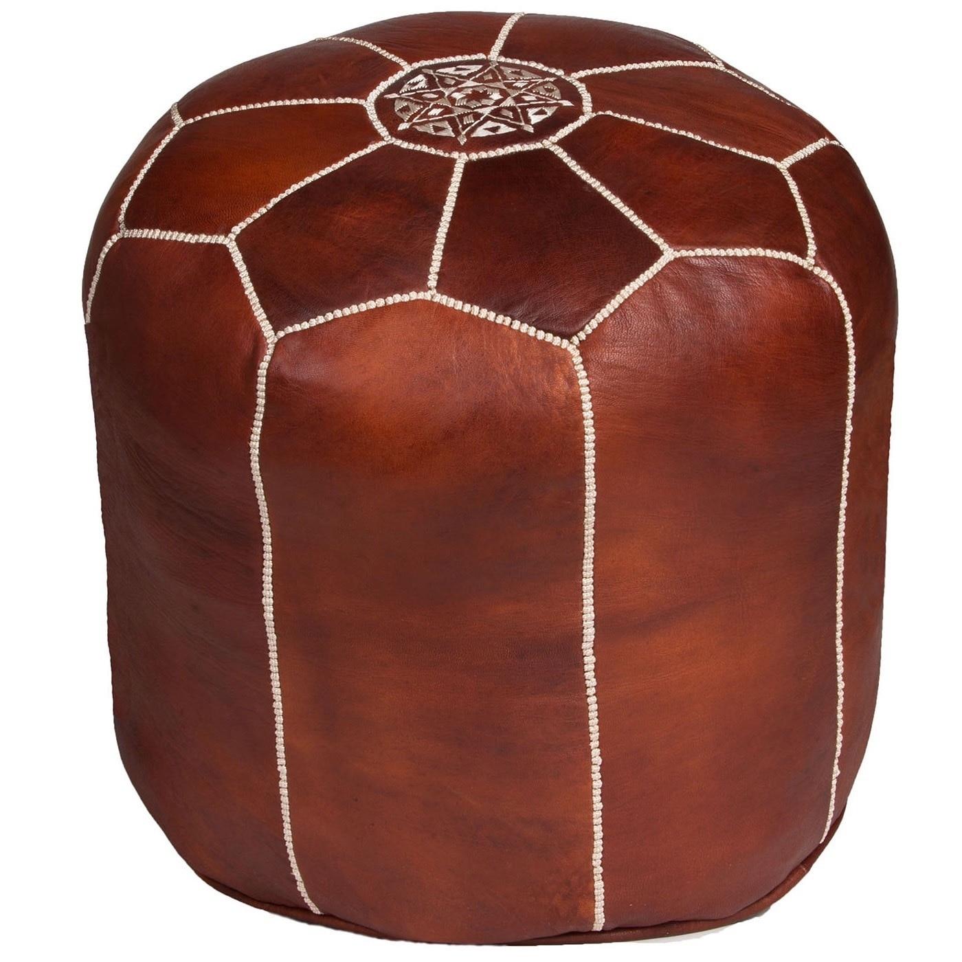 Handmade Tall Brown Moroccan Leather Ottoman Pouf (Morocc...