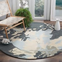 Safavieh Handmade Bella Modern Abstract Steel Blue Wool Rug - 6' Round