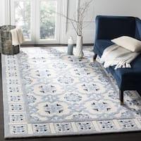 Safavieh Handmade Bella Ivory / Blue Wool Rug - 5' x 5' square