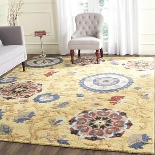 Safavieh Handmade Blossom Gold / Multicolored Wool Rug (6' Square) - 6' Square