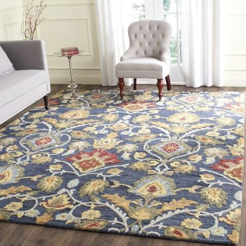 Safavieh Handmade Blossom Fiorello Navy / Multi Wool Rug - 6' x 6' Square