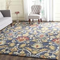 Safavieh Handmade Blossom Navy / Multicolored Wool Rug - 6' Square