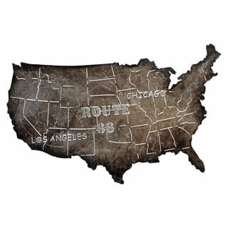Urban Port 'USA Map' Metal Art