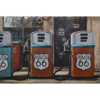 Benzara Urban Port 'Route 66 Gas Pump' Metal Wall Decor